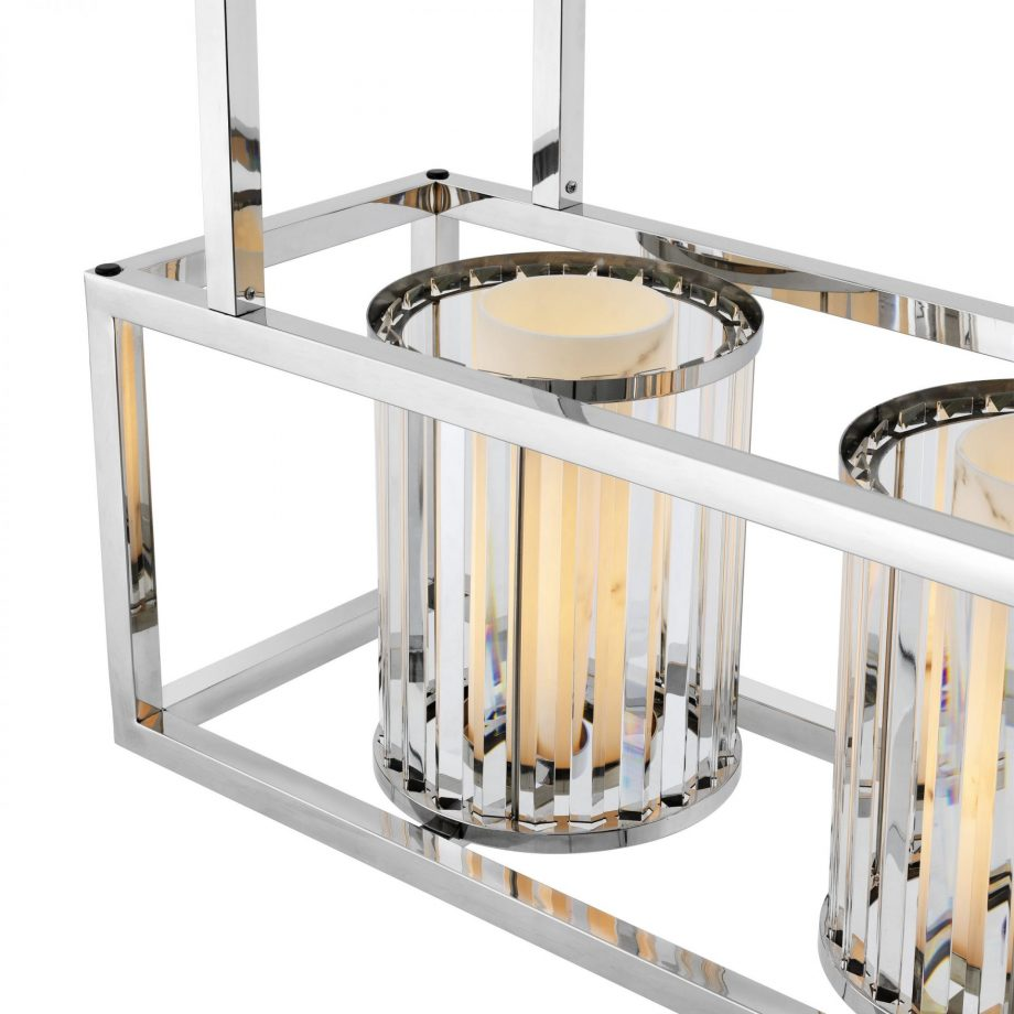 EICHHOLTZ – Carducci lámpa ø120 – polished stainless steel, crystal glass (1)