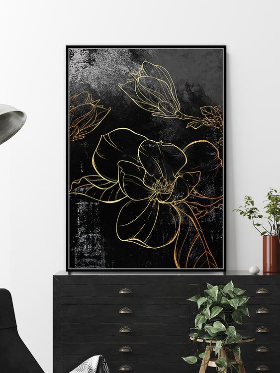 pol_pl_Czarny-obraz-zlote-kwiaty-82-6×122-6-cm-L0145-1666_3