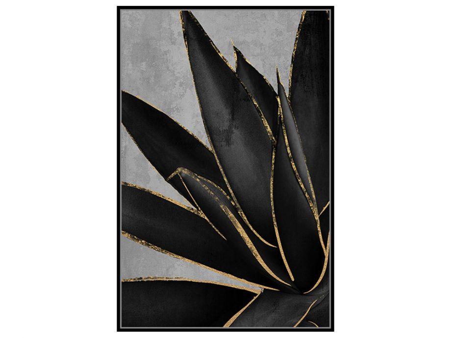 pol_pl_Czarny-obraz-zlote-kwiaty-82-6×122-6-cm-M0220-1672_2